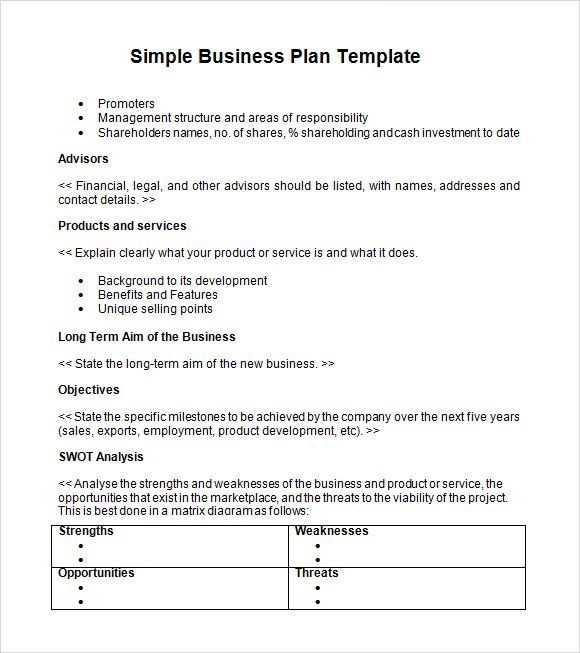 Business Plan Sample Simple Business Plan Template Business Plan Template Word Simple Business Plan