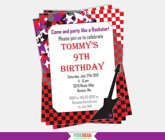 Rock Star Invitation - Rockstar Party Invitation - Rock Star Birthday Invitation - Rock Star Party I #rockstarparty