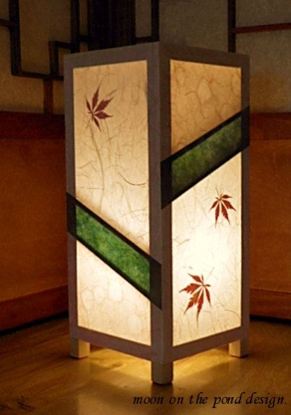 Items Similar To Paper Lamp, Japanese Style Table Lamp, Rice Paper And  Maple Leaves, Elegant U0026 Soothing Light, Green On Etsy