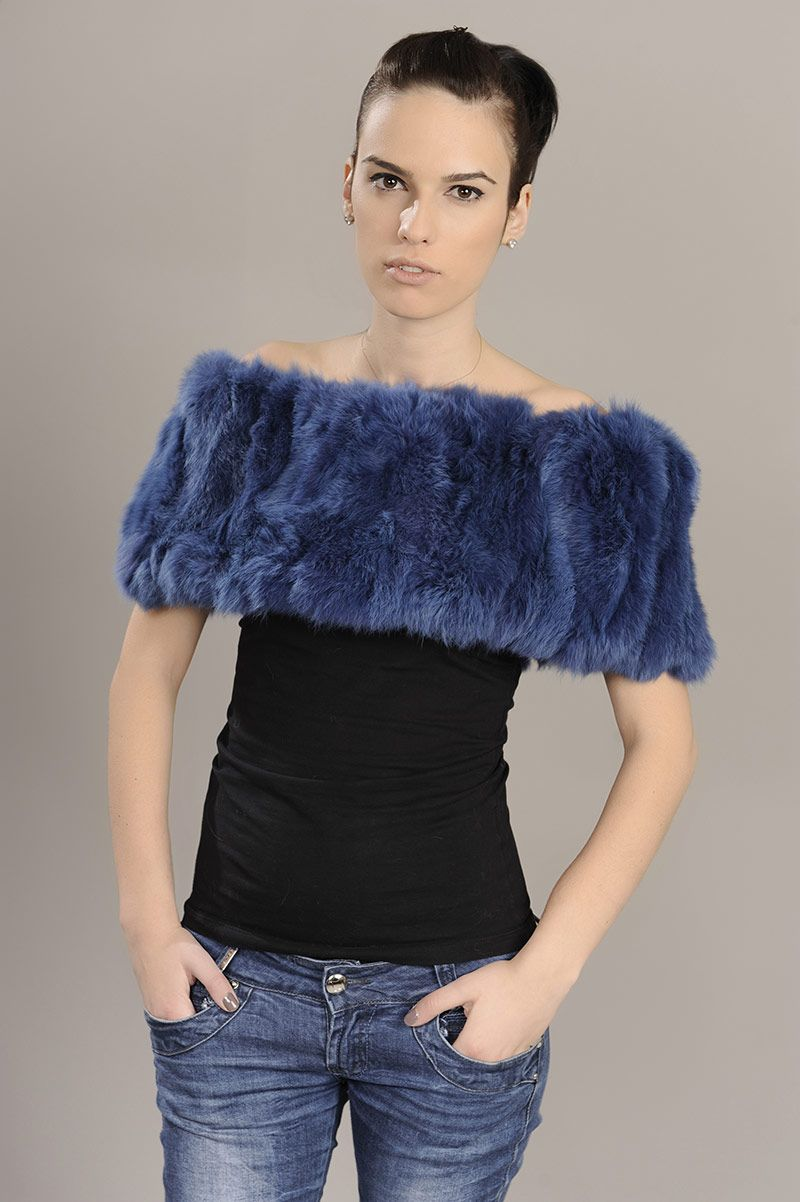 Blue stole of rabbit fur. Available for wholesale orders.