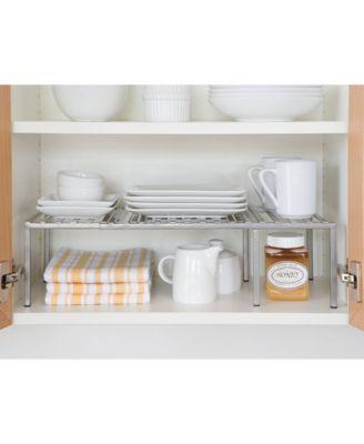 Expandable Kitchen Cabinet Shelf Organizer Silver