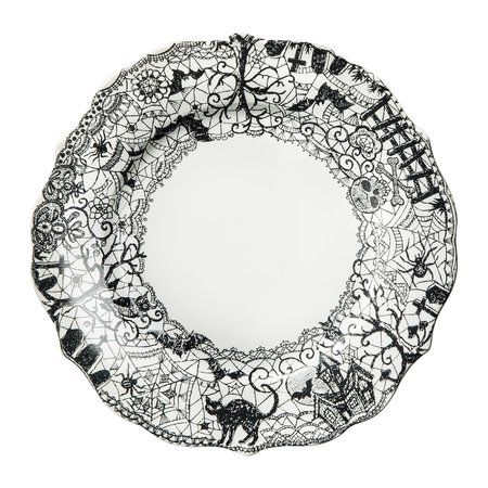 mobile site halloween wiccan lace assorted dinner plates set of 4 black and white