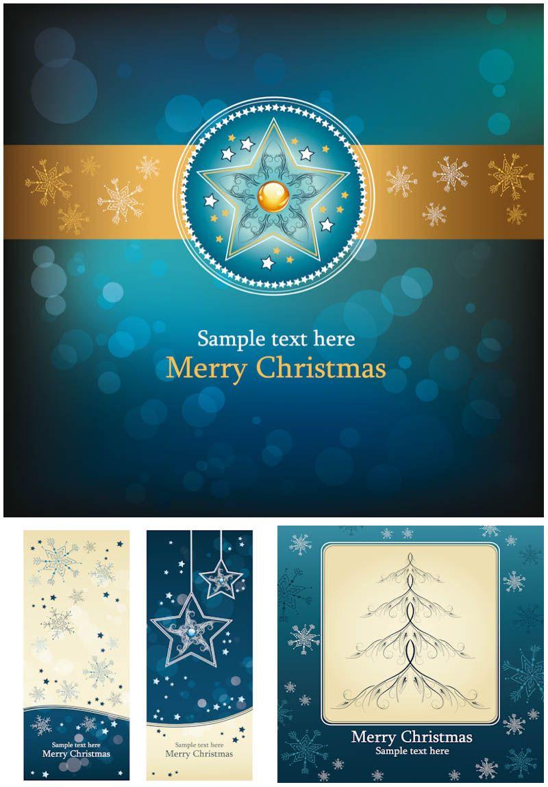 Christmas blue cards #vector | flowers4jane | Pinterest | Tarjeta ...