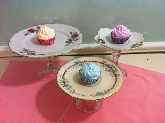 Trio of Mini Dessert Stands - Cupcake Displays - Accessory Organizer - Vintage Floral - Upcycled Repurposed - Shabby Chic- Vintage Wedding. $25.00, via Etsy.