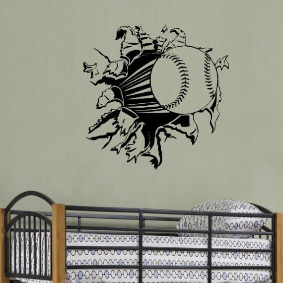Baseball Rip Through Wall Wall Decal Art By Stickyzilla On Etsy, $16.99
