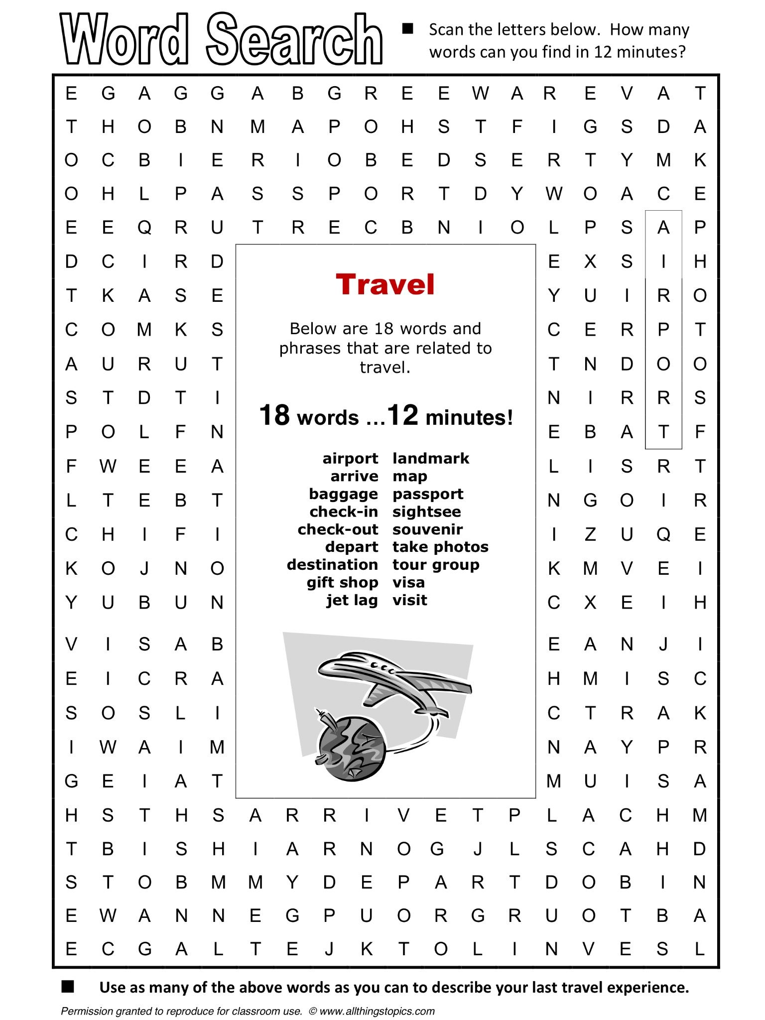 Travel Word Search Esl