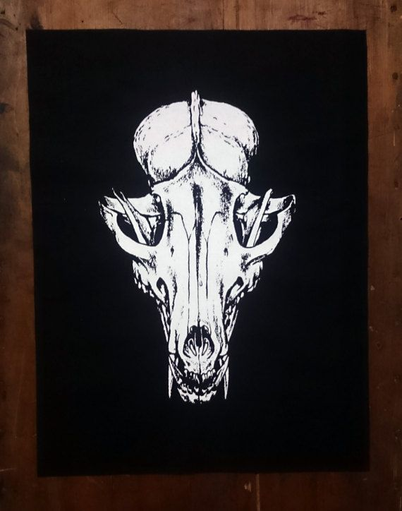 Fox Skull Back Patch In Black Cotton With High Quality Screen Print