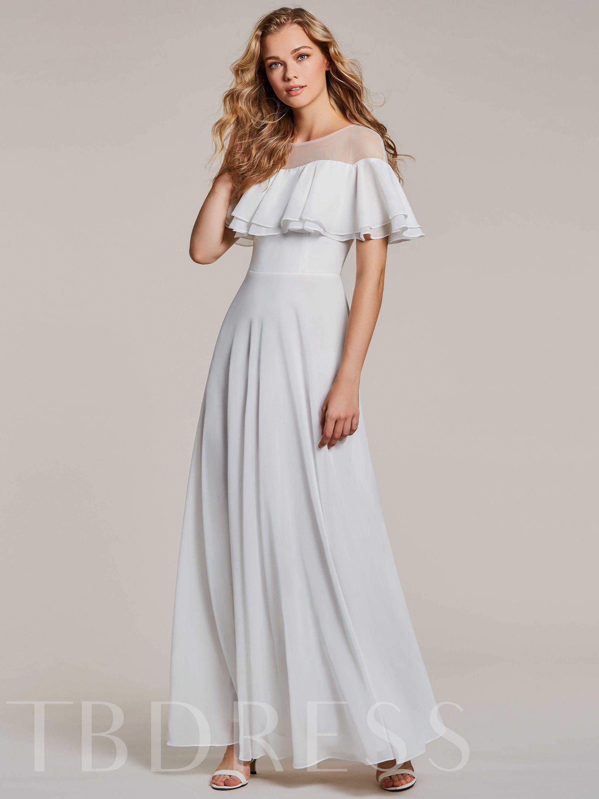 fe4f699a0 Cuello redondo una línea de vestido de noche blanco en 2019