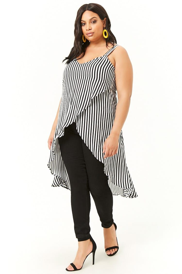 8cc4267fc89ec5 Plus Size Striped High-Low Top in 2019 | Hoodies, Jackets n Tops 1 ...
