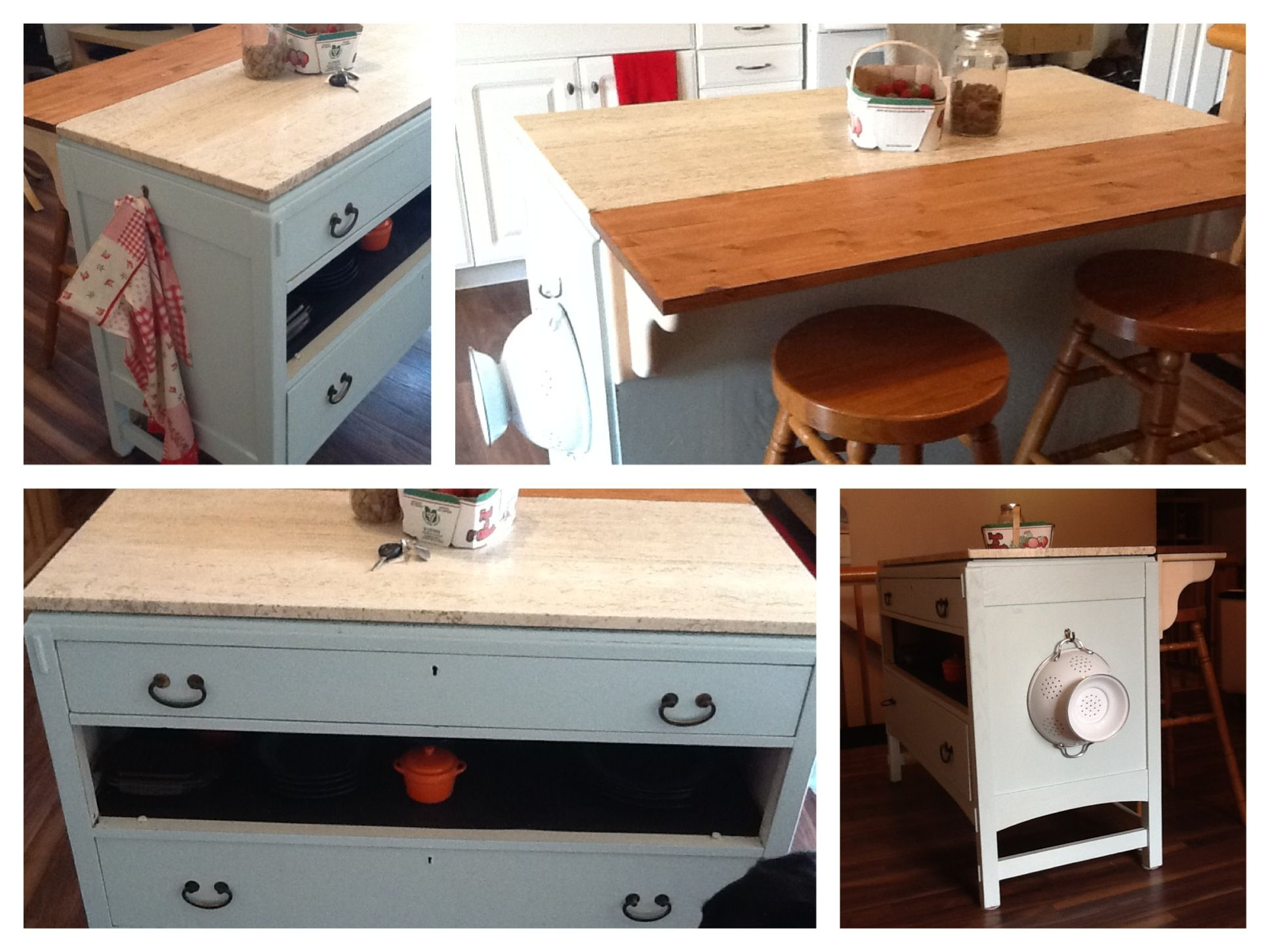 Dresser turned breakfast bar perfect for storage and extra seating