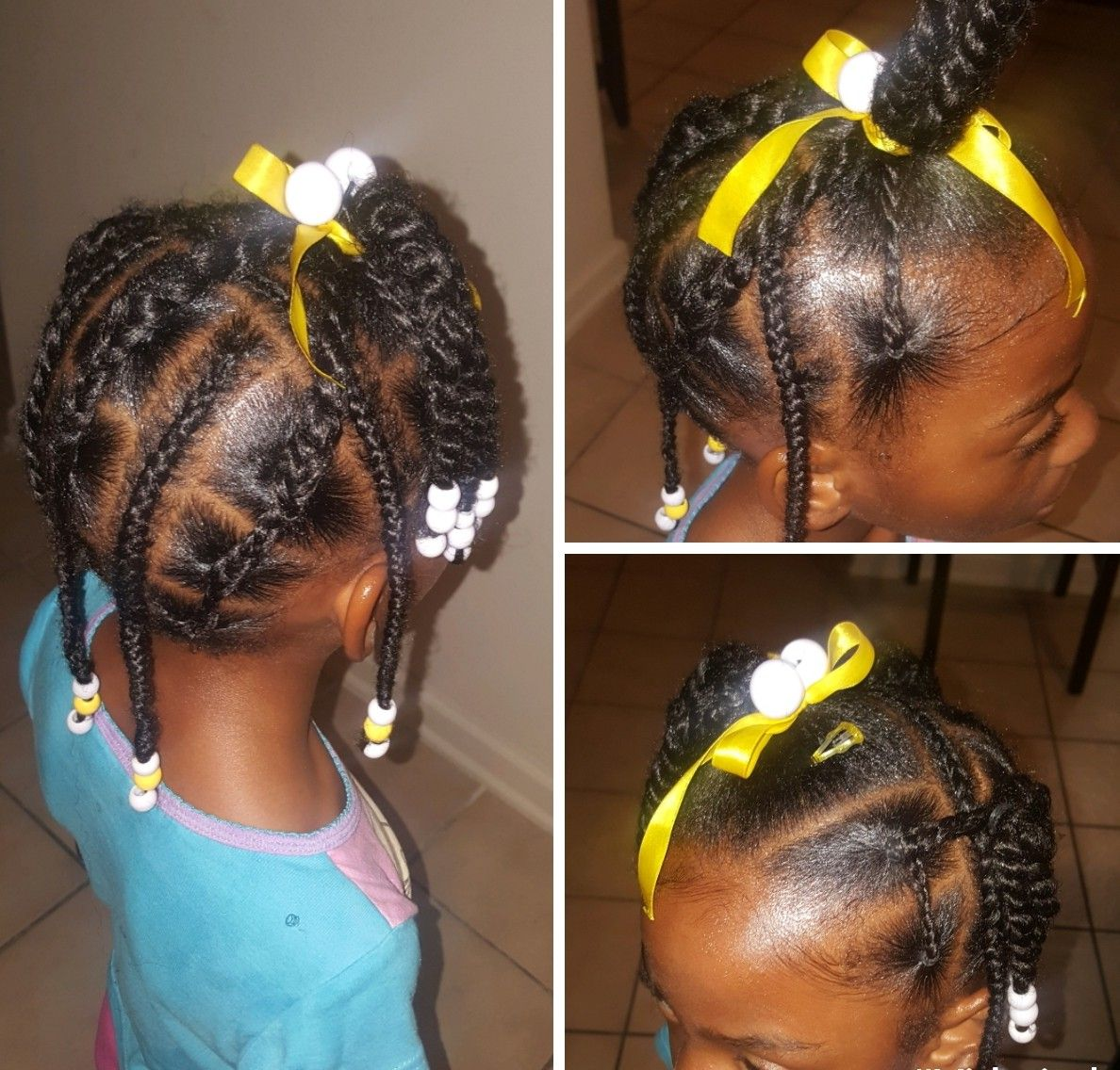 Simple Hair Styles For Little Black Girls Braids Beads And Rubber Bands In Curly And Thick Hair Easy Little Girl Hairstyles Hair Styles Kids Hairstyles