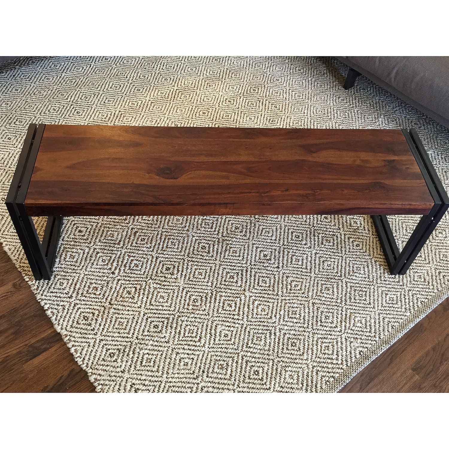 Reclaimed Seesham Wood Bench with Metal Legs India