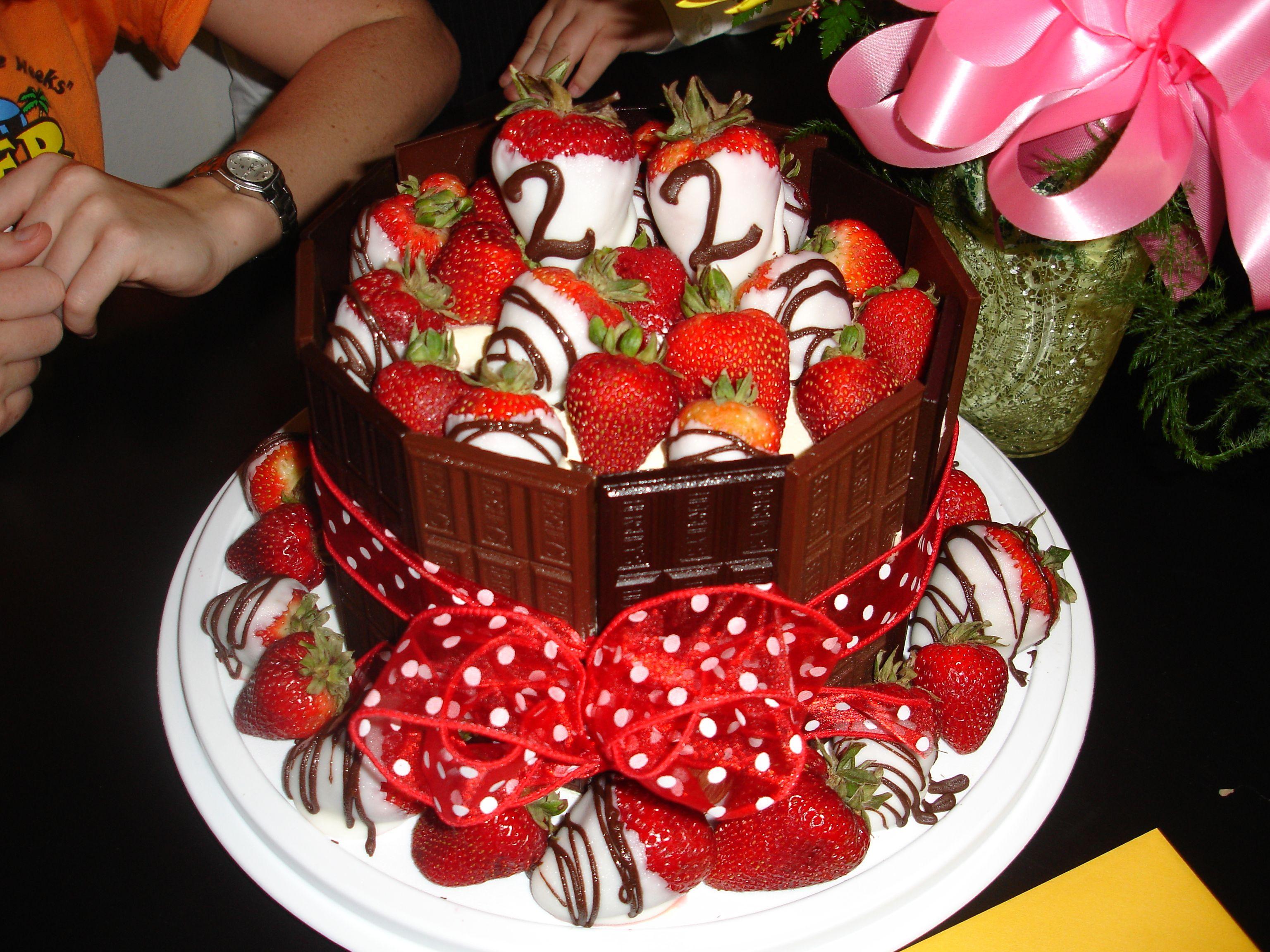 22nd birthday chocolate covered strawberry hershey cake