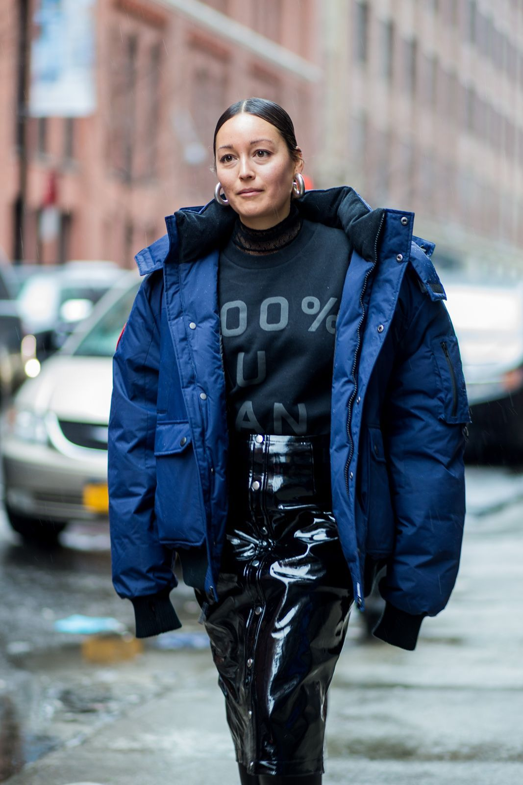 Not Even A Blizzard Could Stop New York Fashion Week Street Style+#refinery29
