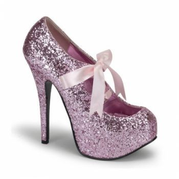 Bordello Pink Glitter Heels | Pink
