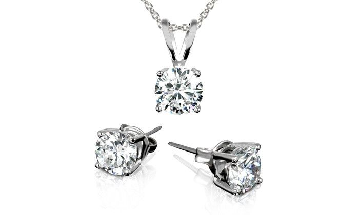 3 00 Ctw Stud Earrings And Necklace Set With Swarovski Elements Crystals In 18k White Gold Plating Products