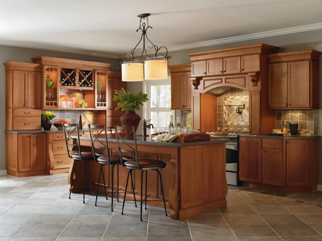 Cabbott Cherry Macarron Kitchen By Thomasville Cabinetry, Featuring Baroque  Legs And Furniture Like,