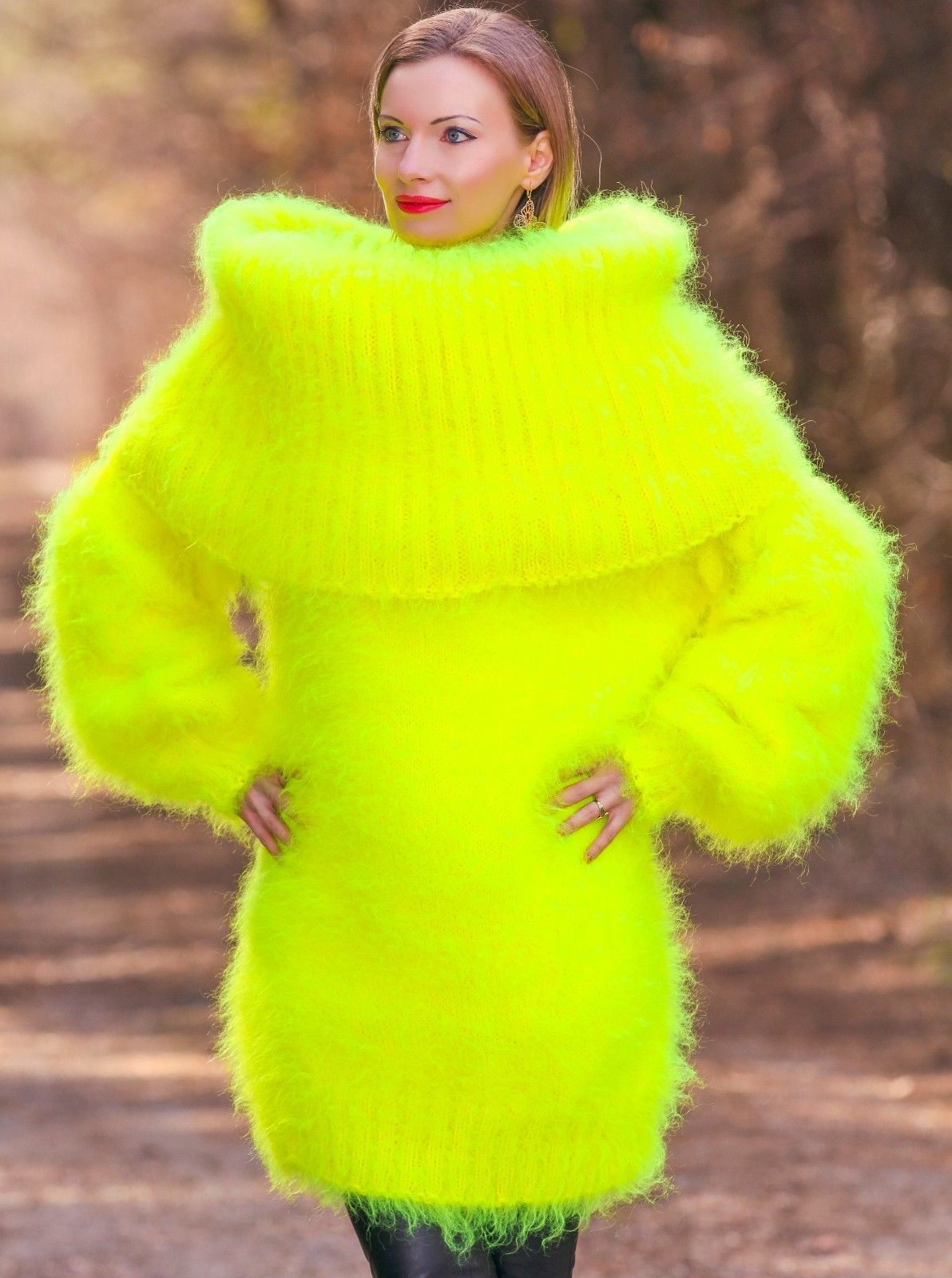 Neon Yellow Hand Knitted Mohair Sweater Fuzzy Huge Cowlneck Dress ...
