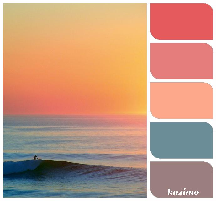 Sunset Beach Wedding Ideas: Ocean Sunset; Color Palette; Color Inspiration;