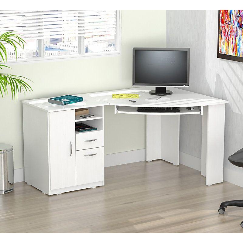 Inval Corner Computer Desk Laricina White By Office Depot Amp Officemax White Corner Desk White Corner Computer Desk Corner Computer Desk