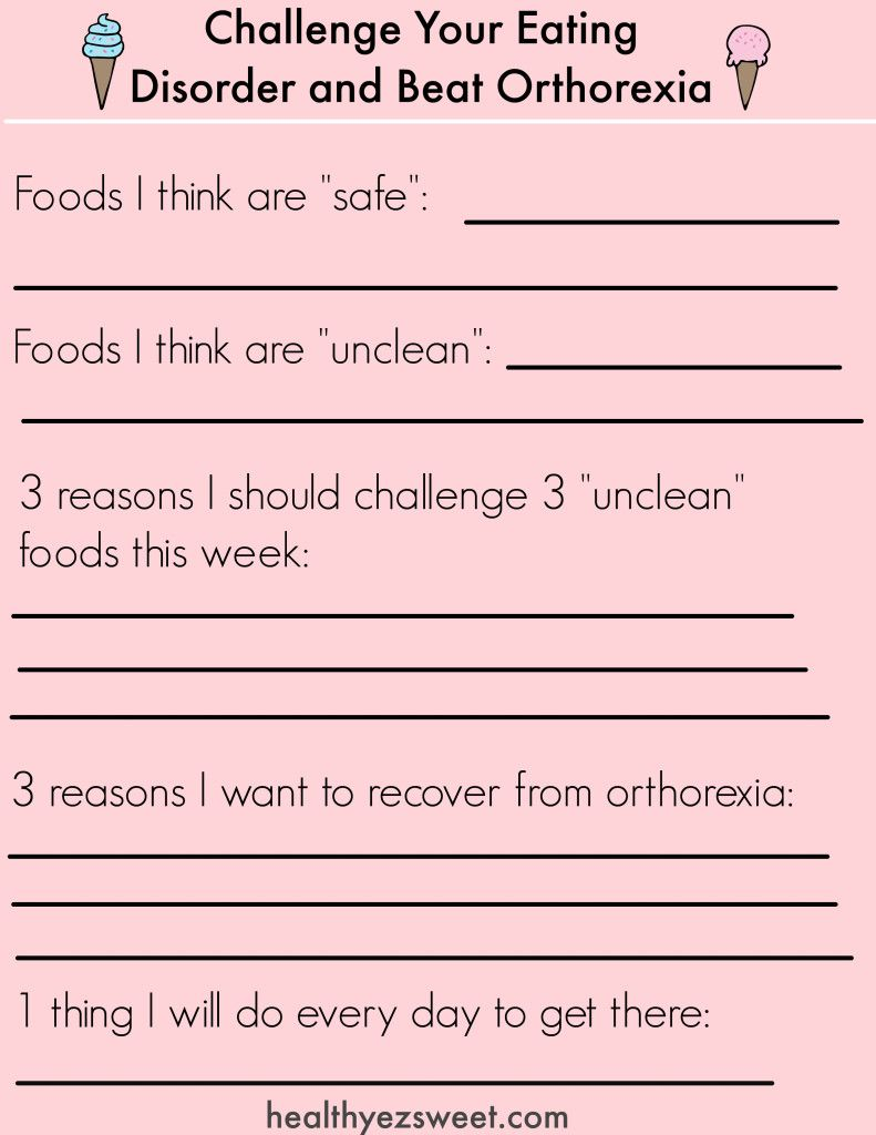 Your Step By Step Guide To Beating Orthorexia Free Worksheet