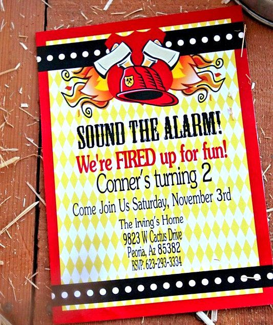 1000 images about Fireman party – Fireman Party Invitations