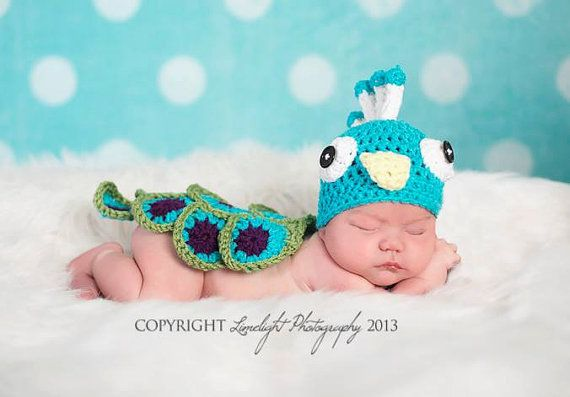 Baby Hat Newborn Peacock set Baby hat Baby by SweetPeaBoutiquebyE ...