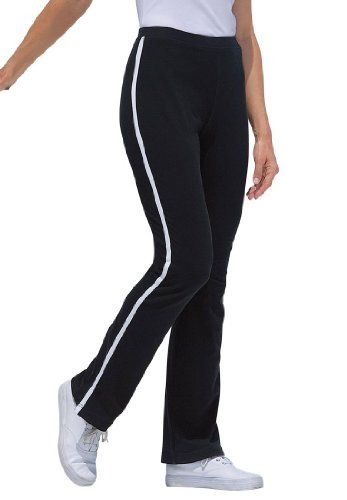woman within plus size petite stretch yoga pants with side stripes