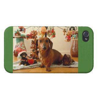 Christmas Dachshund (Version 1) iPhone 4 Case