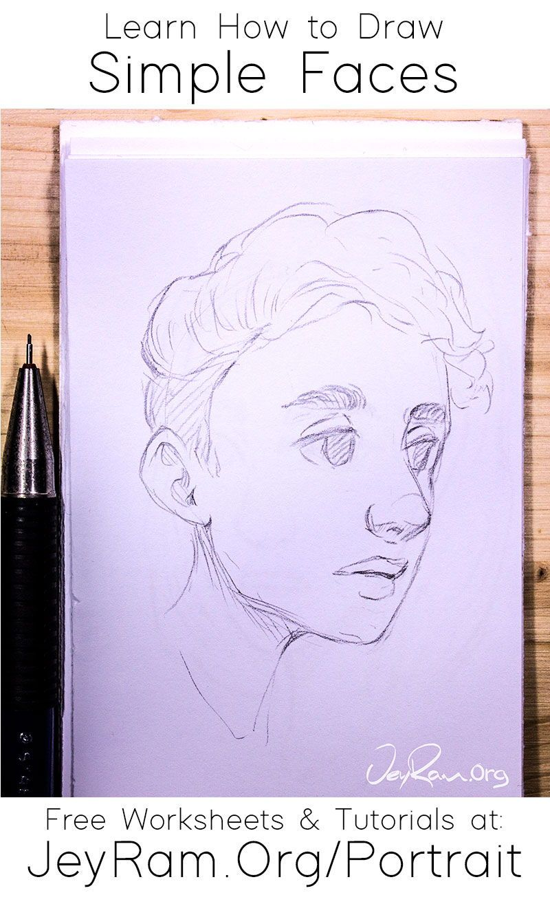 Learn How To Draw Simple Faces With The Step By Step Tutorials Made For Beginners On The Site This Series Of Tutorials Includes Free Worksheets Printable Pdfs In 2020