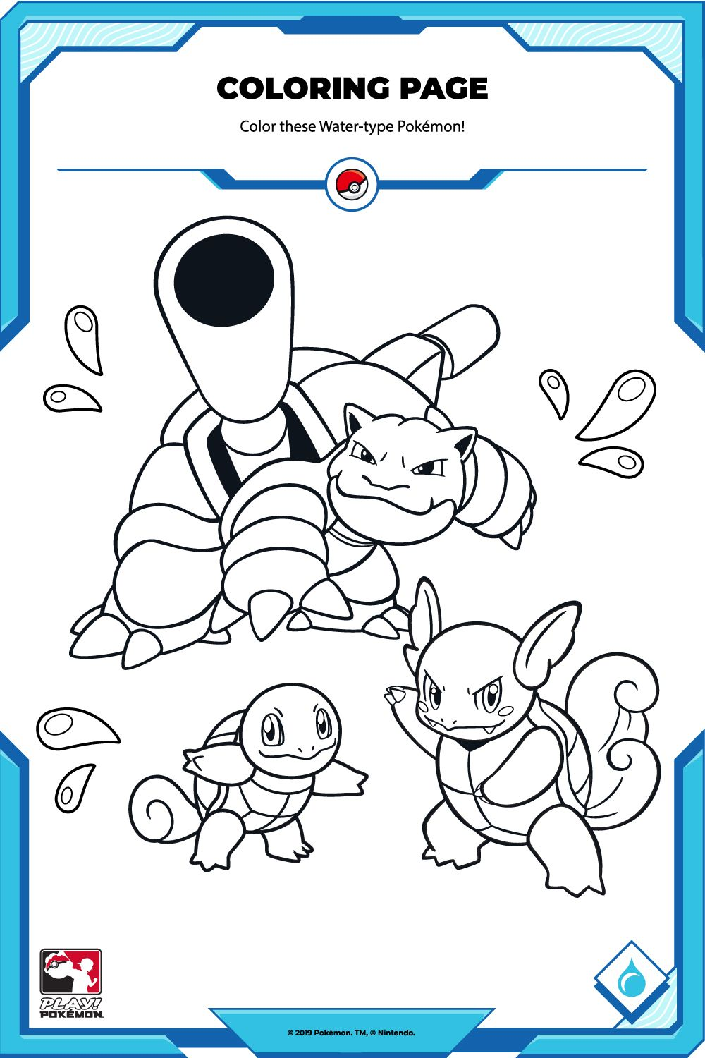 Color These Water Type Pokemon Pokemon Coloring Pages Colouring Pages