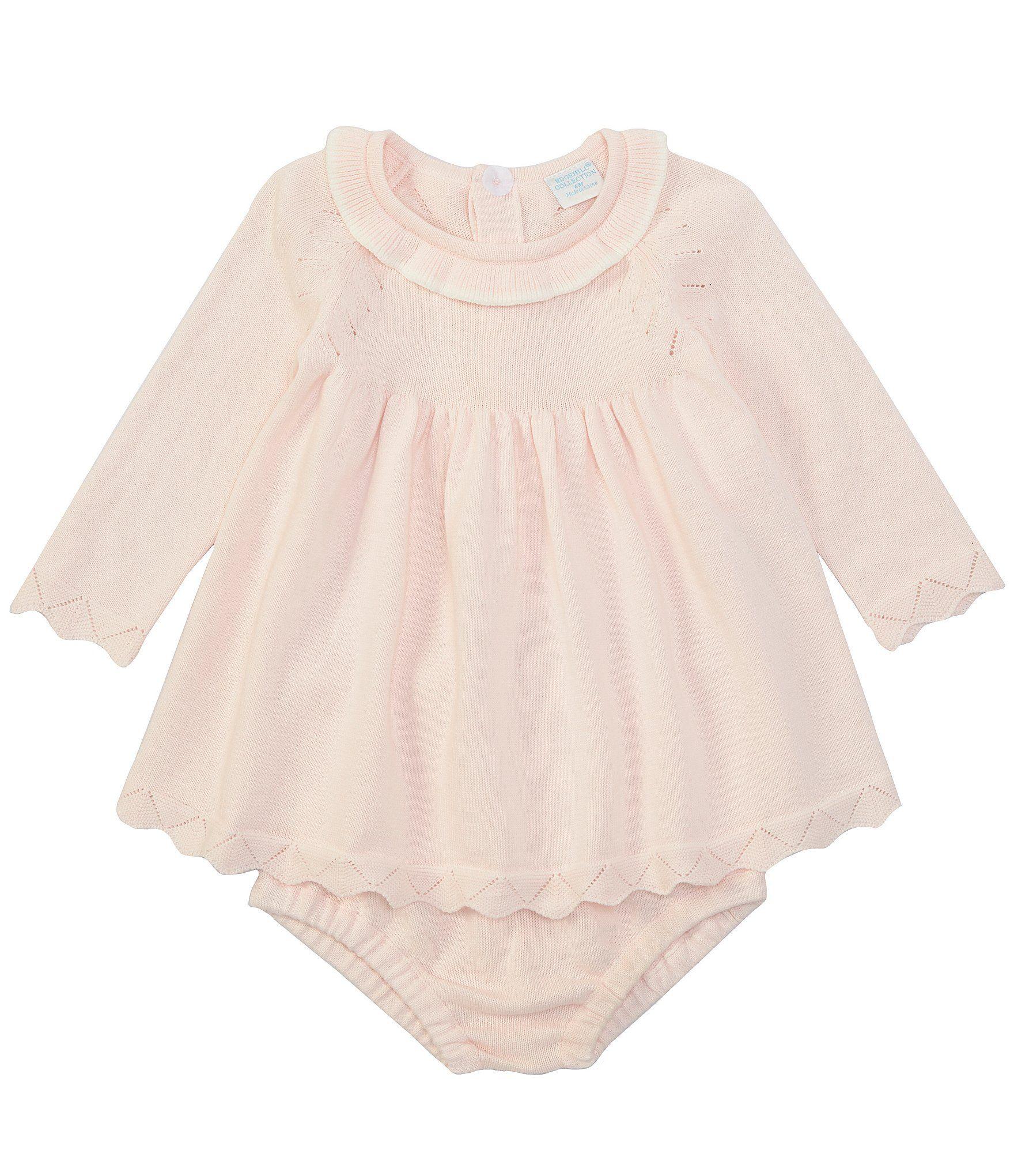 Photo of Edgehill Collection Baby Girls Newborn-6 Months Sweater Knit Dress – Pink Newborn