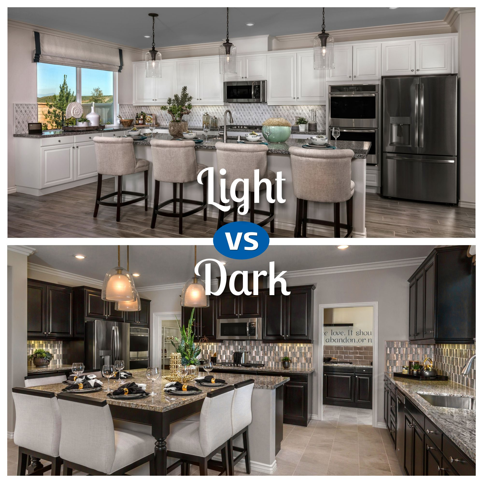 When It Comes To The Kitchen Which Cabinet Color Is Just Right Dark Or Light Find Both Of These Gorgeous Kitche Gorgeous Kitchens Kitchen New Homes For Sale