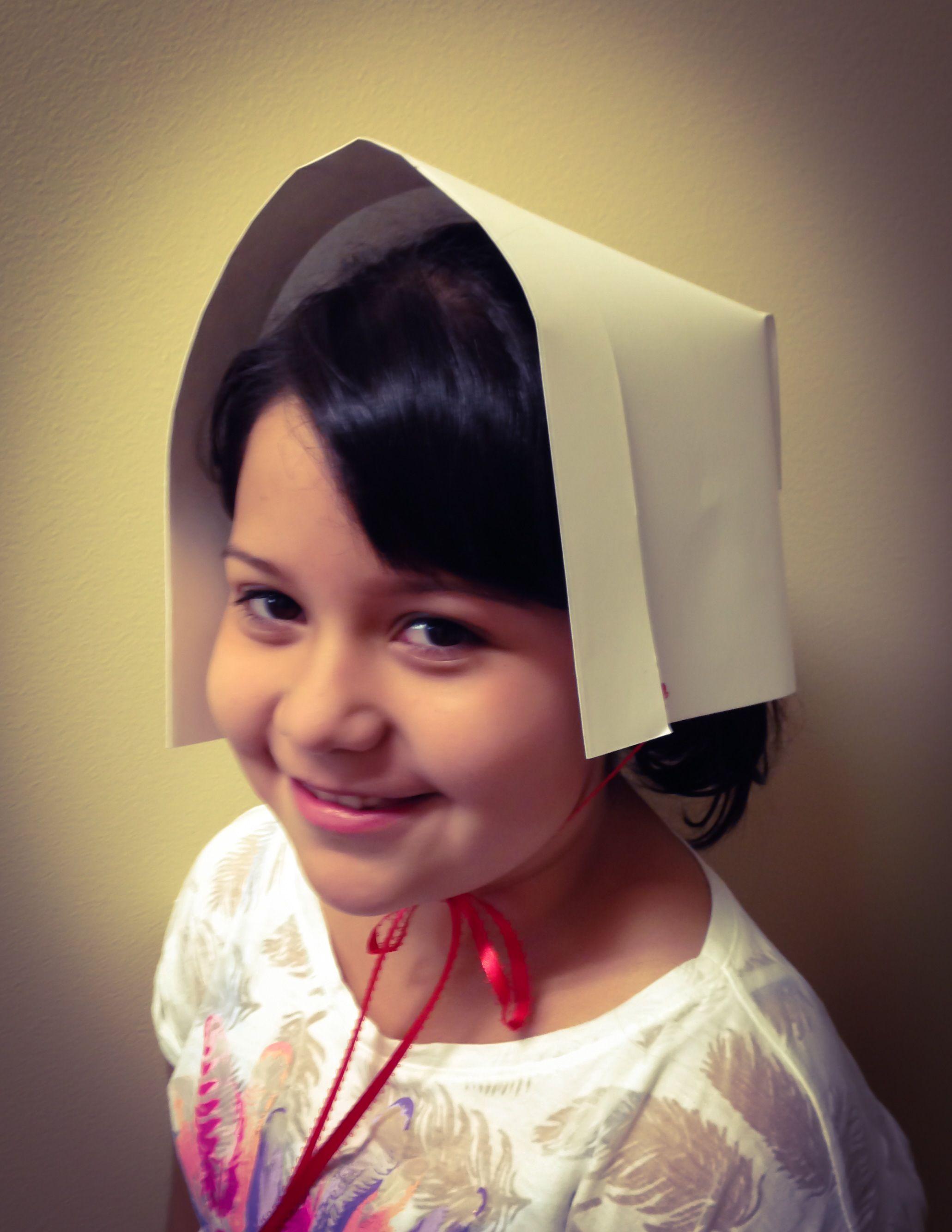 Pilgrim Bonnet made out of card stock Martha Stewart pattern