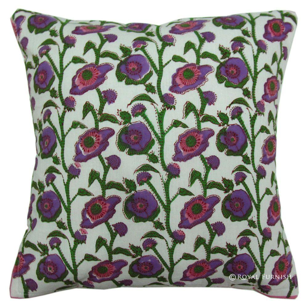 Indian Handmade Decor Violet Hand Block Printed Cotton Sham Pillow Cushion Cover