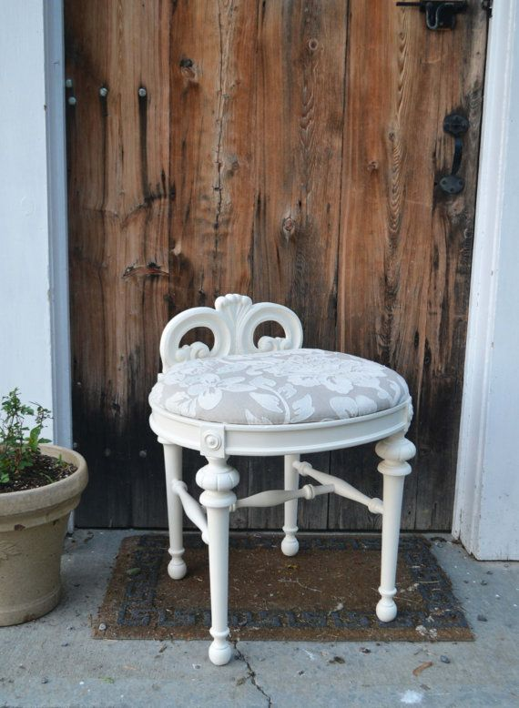 Vintage Refurbished White Vanity Stool With Embroidered Floral