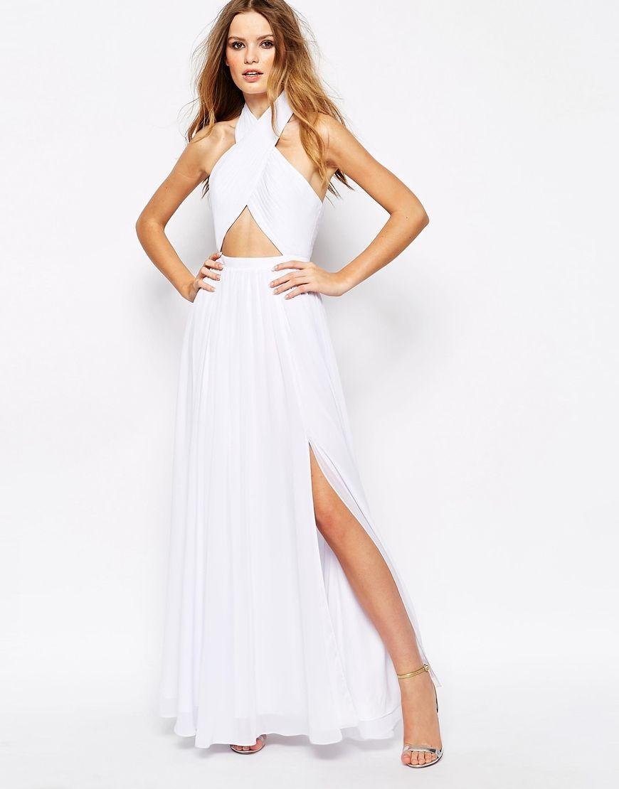 White maxi wedding dress uk.