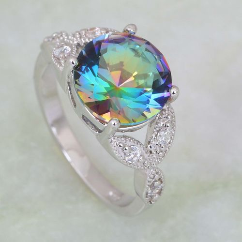 Solid 925 Sterling Silver CZ Opal w// Large Center Mystic CZ Ring Size 9 .