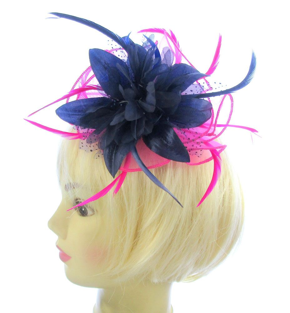 0c40b4c5c6bea Fascinator Navy and hot pink on a curved stitched comb Weddings ...
