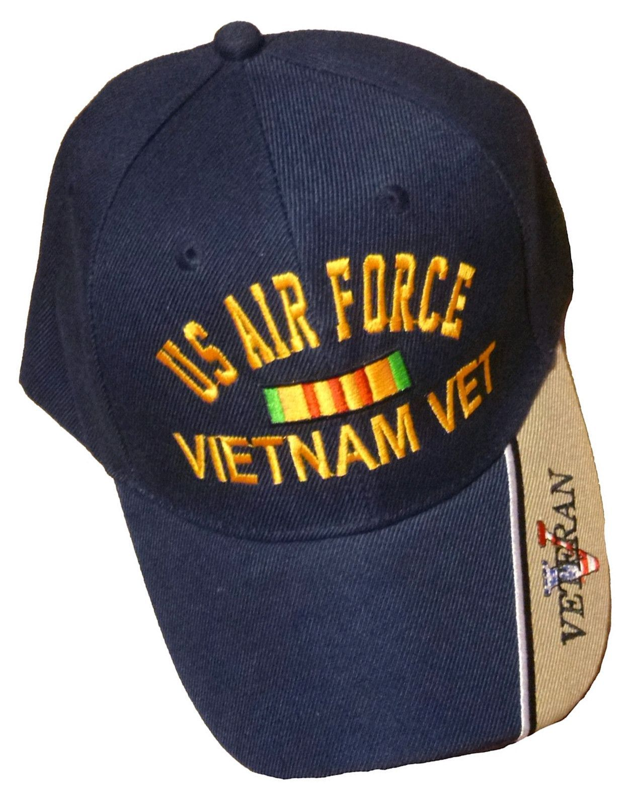 3372ac5e3b58d US Air Force Vietnam Vet Baseball Cap Blue and Tan Embroidered Military  Logo Veteran Hat