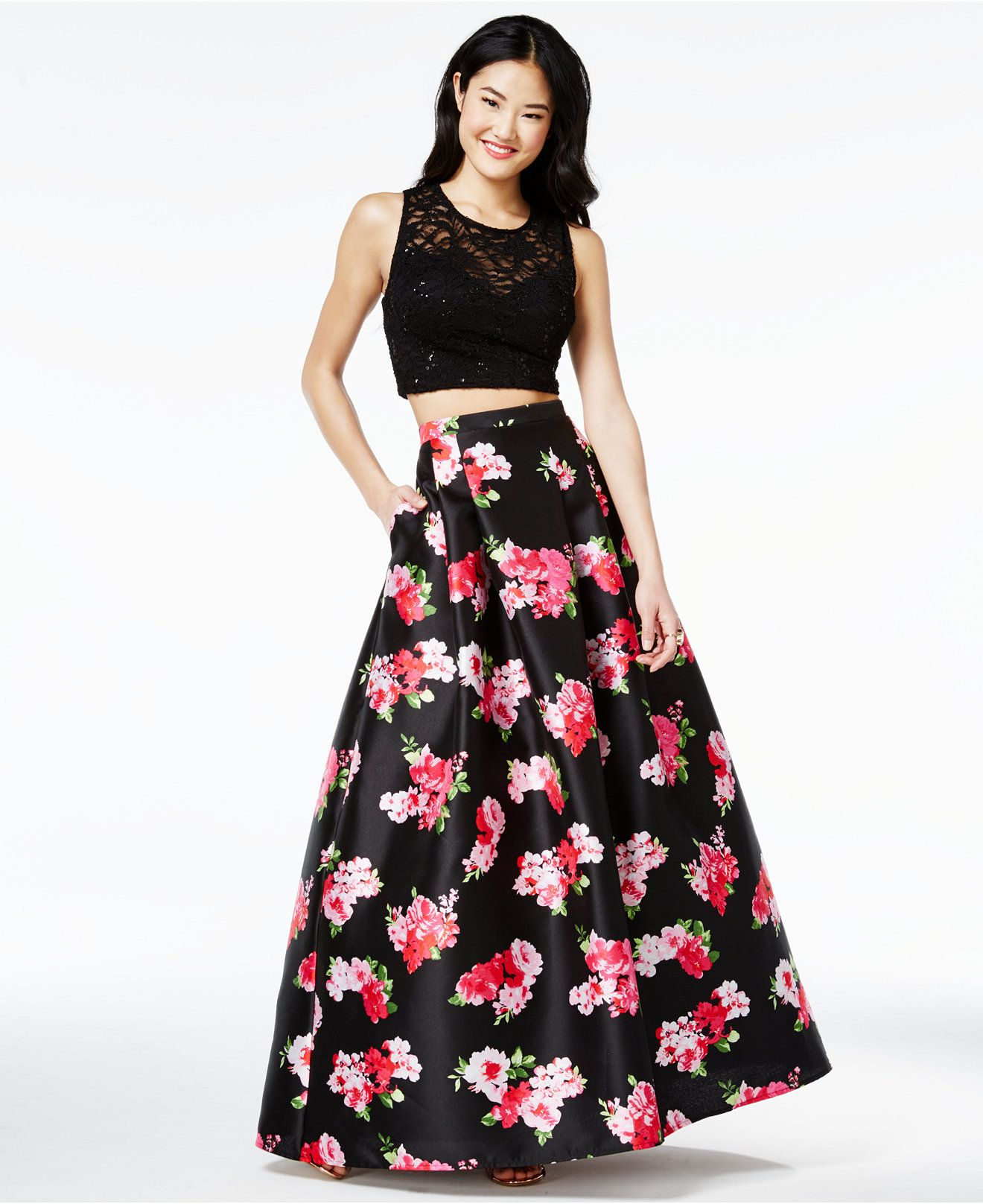 B Darlin Juniors' 2-Pc. Floral-Print Gown, A Macy's Exclusive ...