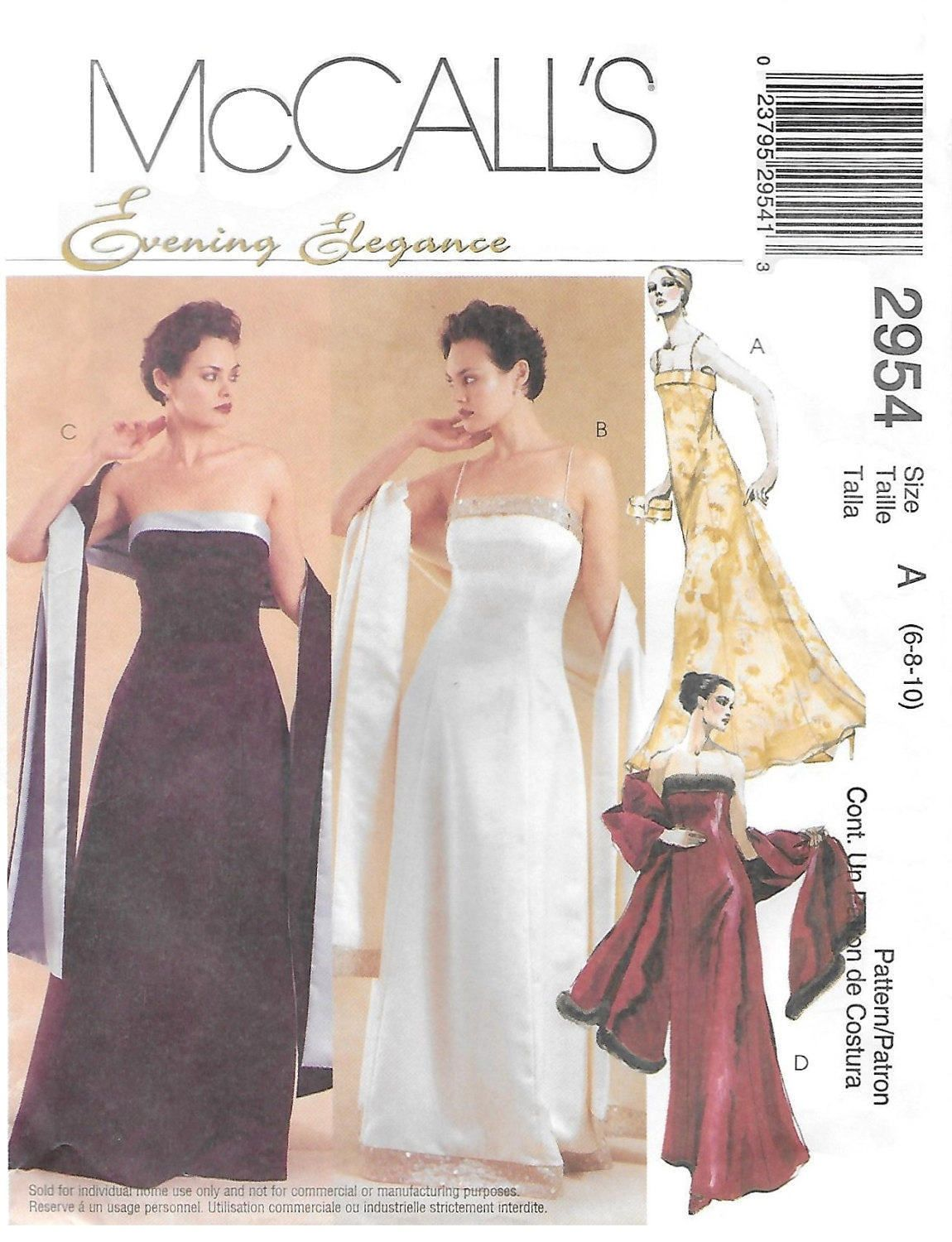 McCall\'s 2954 Evening Elegance Lined Dress and Stole Sewing Pattern ...