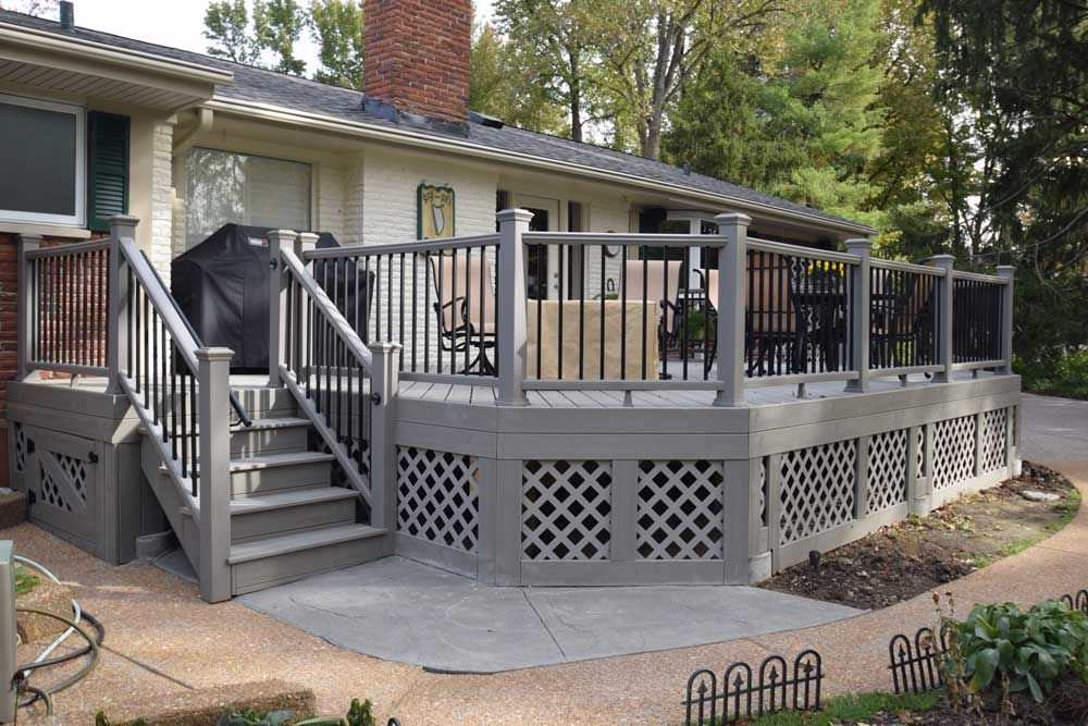 Trex Gravel Path Gray Railing Lattice The Look Of Your Deck Is All In The Details Give Your Deck A Unique Flair That Mak Deck House Exterior Deck Accessories