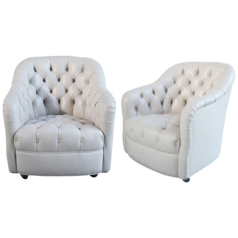 Pair Of Ward Bennett Tufted Leather Club Chairs