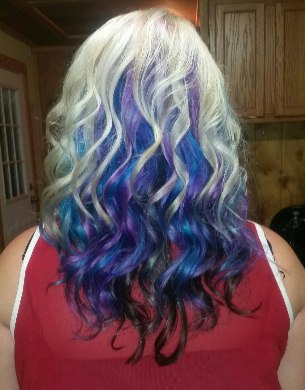 Blonde On Top Teal Blue And Purple In The Middle Peacock Colors