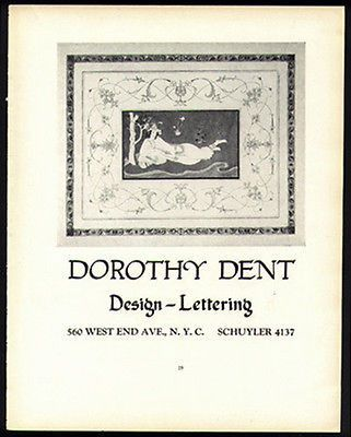 Dorothy Dent Design Lettering Artist Promo Ad NYC 1926 Eastern ...