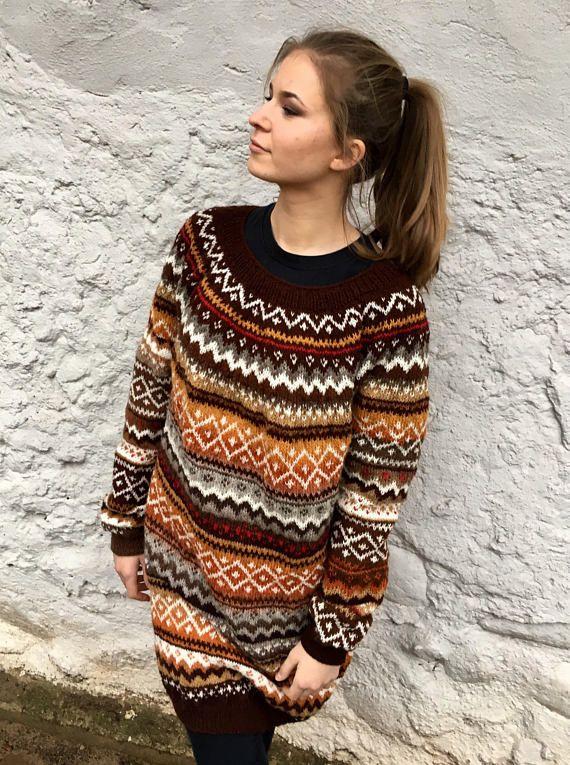 Fair Isle Sweater Dress Oversized Sweater Icelandic Sweater Long ...