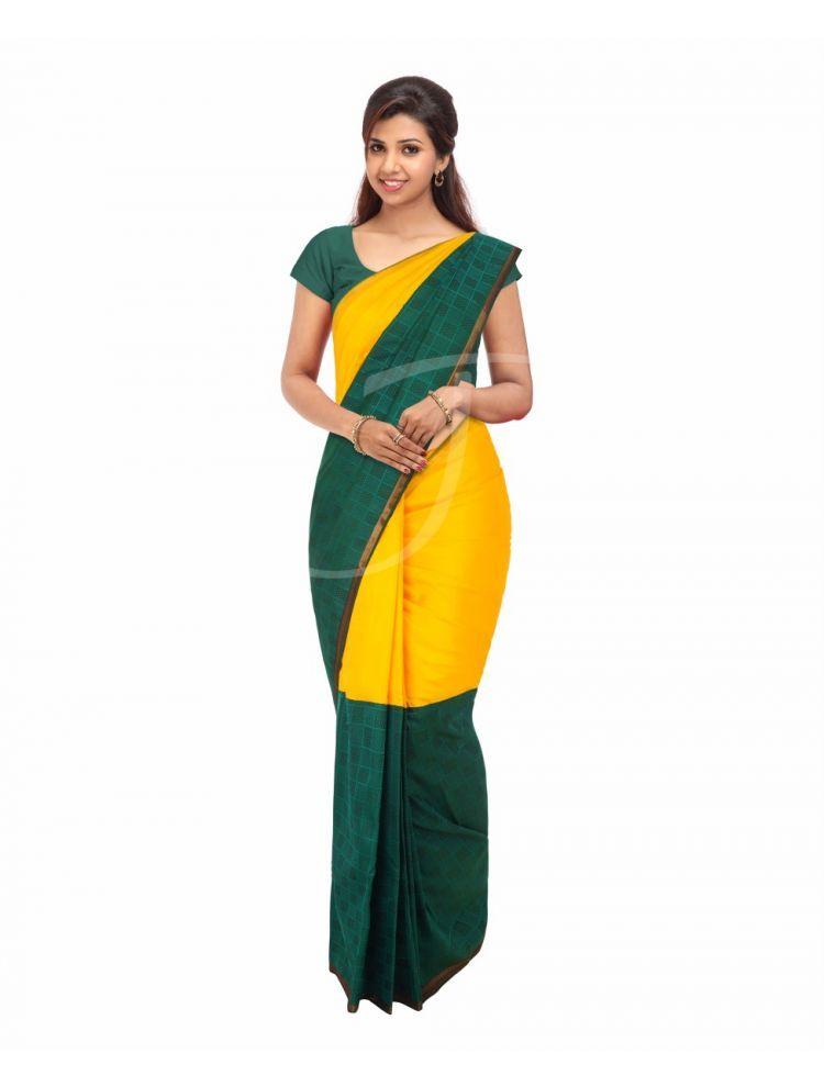 Kancheepuram Silk Twin Colour Mango Yellow And Dark Green Saree With Golden Zari Narrow Borders Green Saree Saree Silk Sarees Online