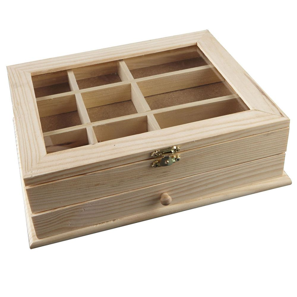Rectangle Unfinished Wood Jewelry Storage Box Wooden Case Holder DIY Crafts