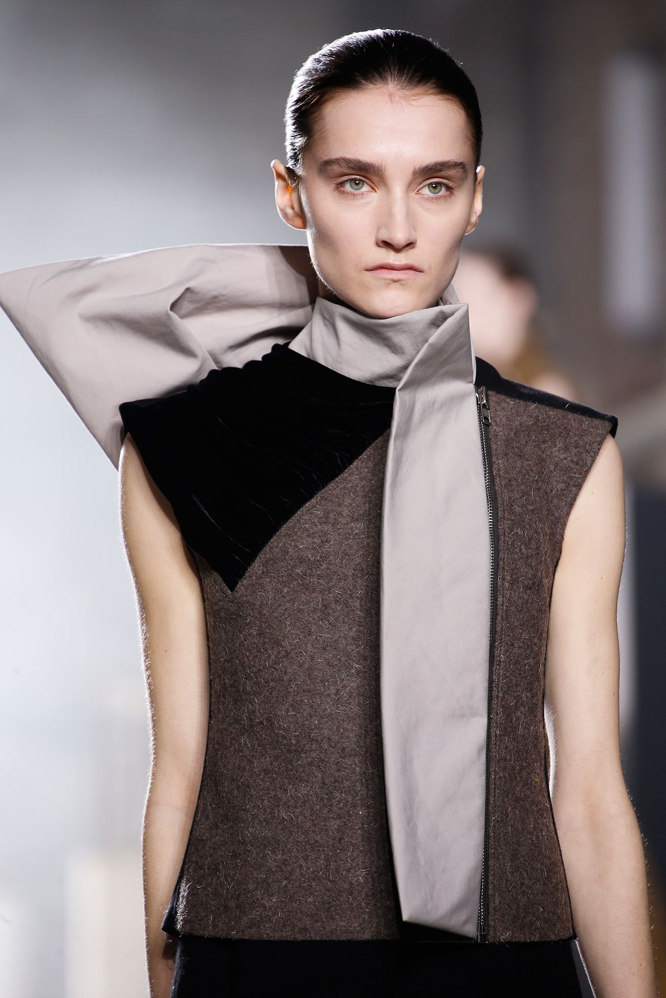 Structured vest with sculpted folds of fabric; fashion details // Rick Owens Fall 2015